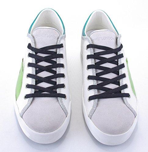 London Kriminalitet DaMændchuh Sneaker Hvid Grøn-turkis Metallic Trend-etiket Nye RqNnSQ