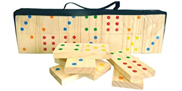 Mightymast Leisure Giant Indoors & Outdoors Dominoes Game With 100% FSC  Certified Wood & Black Canvas Carry Case