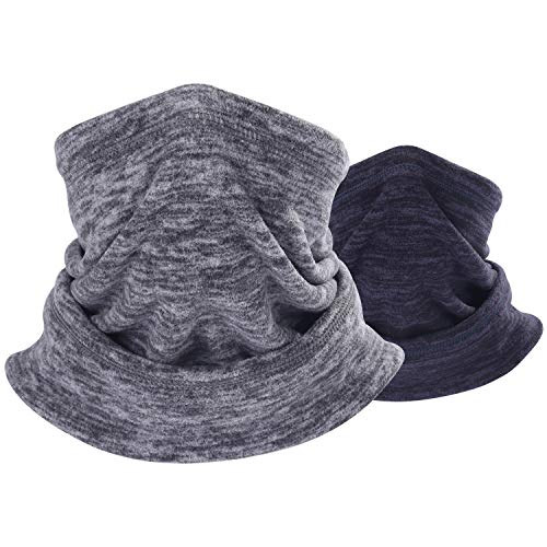 THINDUST 1 or 2 Pack Fleece Neck Warmer, Adjustable Neck Gaiter Winter Cold Weather Ski Face Mask, Soft