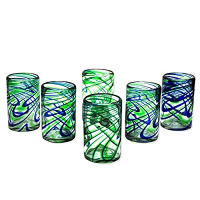 NOVICA Blue and Green Hand Blown Glass Tumbler Glasses, 10 oz, 'Elegant Energy' (set of 6)