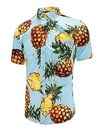 Dioufond Men's Pineapple Flower Casual Button Down Short Sleeve Aloha Hawaiian Shirts