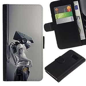 NEECELL GIFT forCITY // Billetera de cuero Caso Cubierta de protección Carcasa / Leather Wallet Case for Sony Xperia Z3 Compact // Robot Cyborg