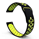 (US) 20mm Quick Release Breathable Watch Band, Silicone Replacement for Garmin Forerunner 645/Music, Garmin Vivomove/HR, Misfit Vapor Watch Band 20mm, One Size (Black/Lime)
