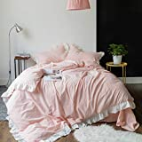 SUSYBAO 3 Pieces Vintage Ruffle Duvet Cover Set 100% Natural Washed Cotton Queen Size Pink Stripe Princess White Lace Bedding with Zipper Ties 1 Duvet Cover 2 Pillow Shams Luxury Quality Soft Durable