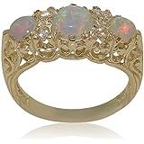Luxus Damen Ring Solide 9 Karat (375) Gelbgold mit Opal und Diamant - Verfügbare Größen : 47 bis 68