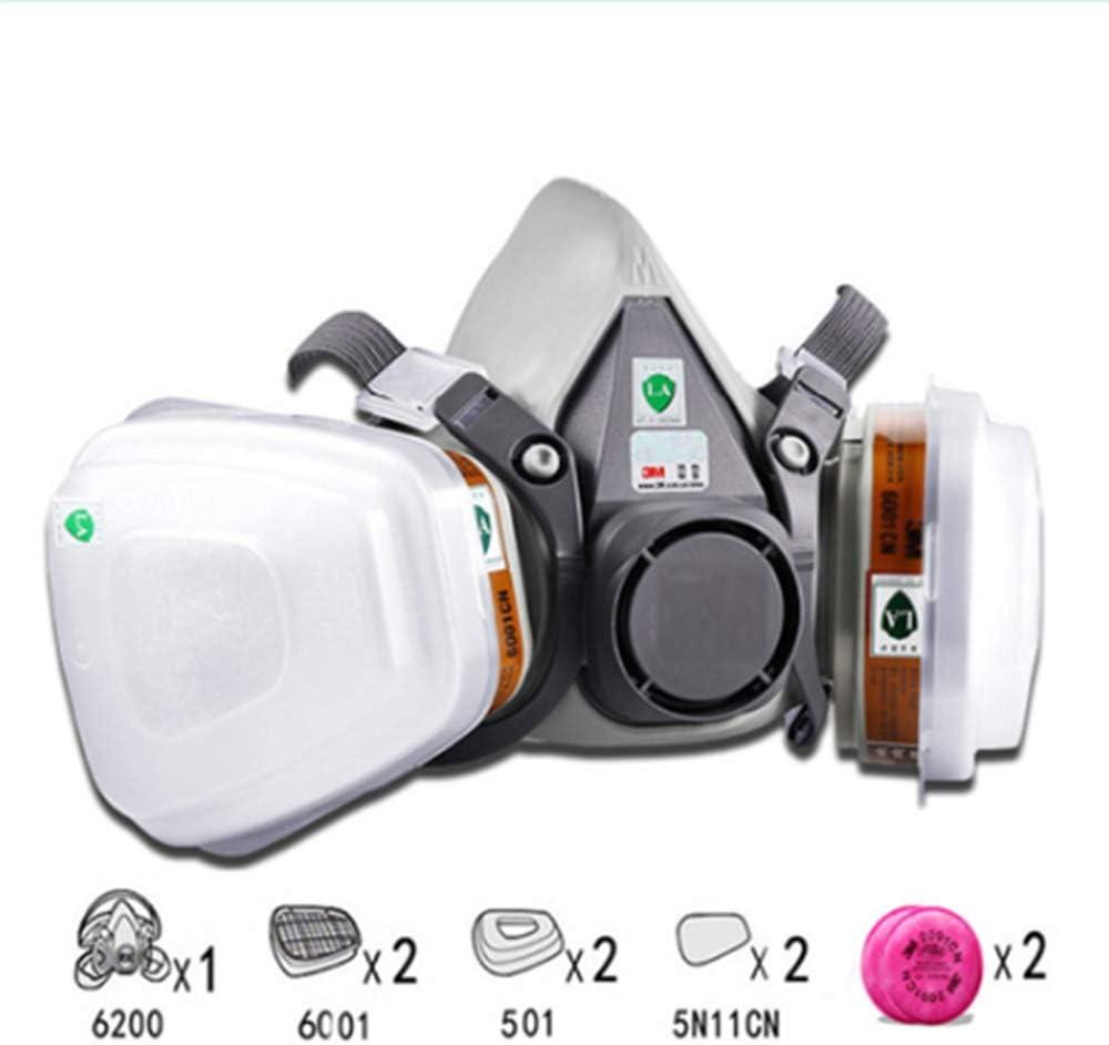 DAXINYANG 1 Pieza 6200 máscara o 9 en 1 6200 Media máscara de respiración con 6001/2091 Filtro Adecuado para la Pintura a Pistola y protección contra el Polvo