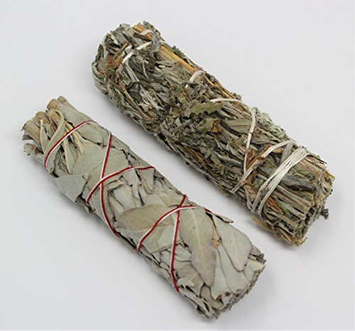 (California White Sage and Black Sage (Mugwort) Smudge Sticks 2 Pack)