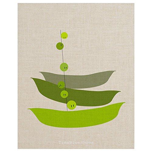 Pea Pod on Faux Linen Background - Kitchen Art Print Poster