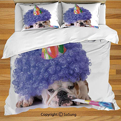SoSung Birthday Decorations for Kids King Size Bedding Duvet Cover Set,Boxer Dog Animal with Purple Wig with Colorful Party Cone Decorative 3 Piece Bedding Set with 2 Pillow Shams,Multicolor