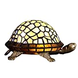 Bieye L10400 Tiffany Style Stained Glass Turtle Accent Table Lamp Night Light (Multi-Colored)