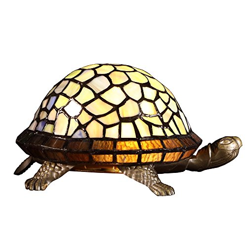 Bieye L10400 Turtle Tiffany Style Stained Glass Accent Table Lamp Night Light for Bedside Living Room (Multi-Colored)
