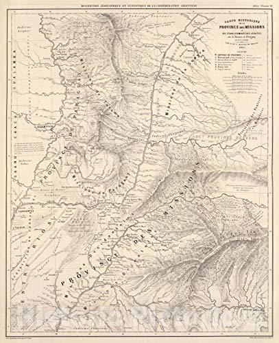 Hist Atlas - Historic Map | National Atlas | 1873 Carte hist, Prov. des Missions, etabl. Jesuites, Parana et l'Uruguay, 1575-1768. | Vintage Wall Art | 36in x 44in
