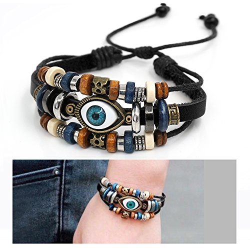 Veigary Vintage Rope Wristband Multilayer Adjustable Leather Woven Braided Bangle Evil Eye Bracelet for Men