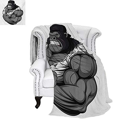 warmfamily Cartoon Oversized Travel Throw Cover Blanket Image of Big Gorilla Like as Professional Athlete Bodybuilding Gym Animal Super Soft Lightweight Blanket 60