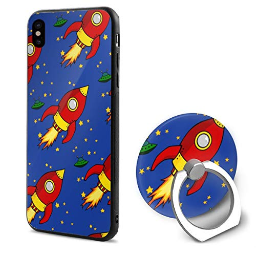 IPhone X Case Rocket Image With Ring Holder 360 Degree Rotating Stand Grip Mounts Slim Soft Protective Cover ()