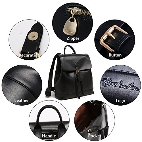 for black Geniune Purse 9 Backpack Bags Leather Casual Women BOSTANTEN Fashion School Bqw811