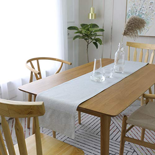 (HOME BRILLIANT Coffee Table Runner Linen Modern Decoration for Wedding Birthday Party Dinner Table Runner, 12 x 72 inches, Light Grey)