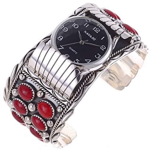 Native American Mens Watch Cuff Coral Silver Bracelet 1130