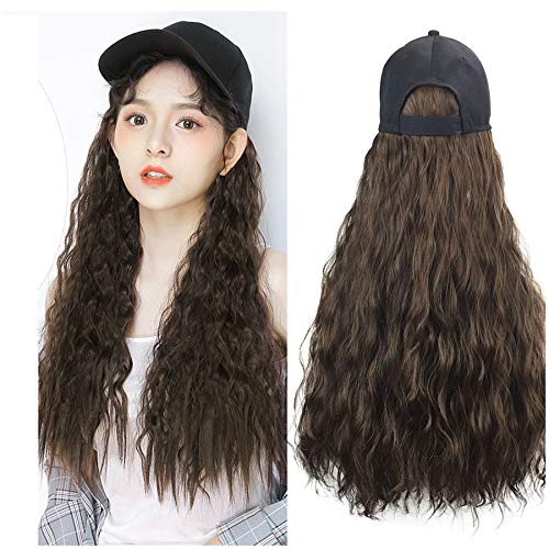 Naiflowers Long Curly Cap Wig, 20 inch Baseball Hat Women Girls Wig Long Wave Hair with Cap, Ball Caps Casual Hat with Wig (Brown)]()