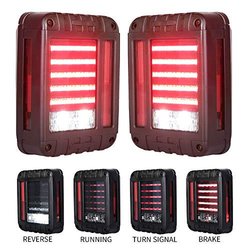 Liteway LED Tail Lights for 07-17 Jeep Wrangler Reverse Light Turn Signal Lamp Running Lights for Jeep Wrangler JK, 2 Years Warranty