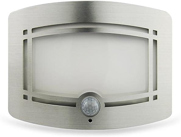 A-Z Aplique Pared LED Sensor De Movimiento Blanco con Pilas Batería con Luz Nocturna Dormitorio Ruta Iluminación De La Escalera Decoración: Amazon.es: Hogar