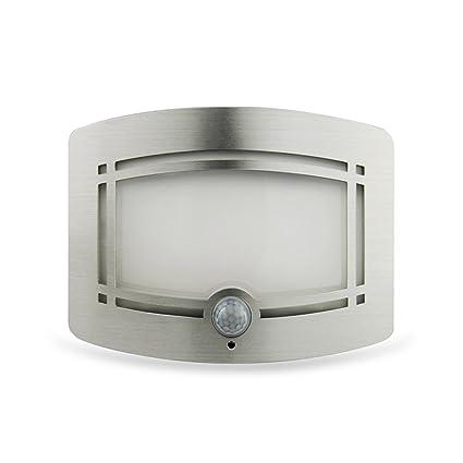 A-Z Aplique Pared LED Sensor De Movimiento Blanco con Pilas Batería con Luz Nocturna Dormitorio Ruta
