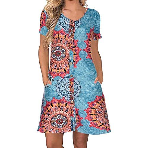 (DondPo Women's Summer Casual T Shirt Dresses Short Sleeve V-Neck Holiday Floral Print Elegant Swing Mini Dress with Pockets Blue)