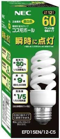 Amazon Nec 電球形蛍光ランプ D形 コスモボール 昼白色 60w相当タイプ 口金e26 Efd15en 12 C5 Necライティング 電球形蛍光灯