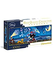 Clementoni 39449 Disney Classic Puzzel Mickey & Minnie 1000 stukjes, hoge kwaliteit panorama, behendigheidsspel voor het gezin, puzzel voor volwassenen vanaf 14 jaar, voor Pasen