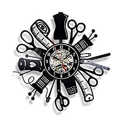 Racombo Handmade Solutions Sewing Instrument Wall Vinyl Art Clock Scissors Kitchen Decor Interior Design - Best Gift for Tailor Him Her Mom Dad