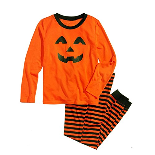Family Suits, ღ Ninasill ღ Family Matching Halloween Pumpkin Print Pajamas Set Blouse + Striped Pants (M, Orange Mom)