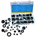 Accessbuy 125pcs Rubber Grommet Snap Ring Assortment Set for Wires Cables Plug Includes Solid Plugs - Automotive, Airplane, Marine Applications