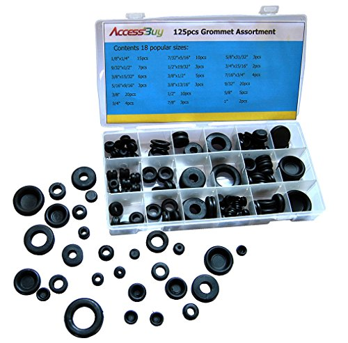 (Accessbuy 125pcs Rubber Grommet Snap Ring Assortment Set for Wires Cables Plug Includes Solid Plugs - Automotive, Airplane, Marine Applications)