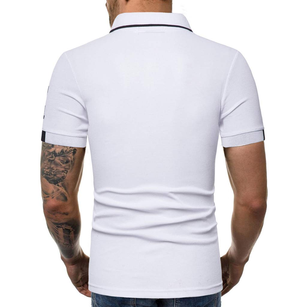 STORTO Mens Summer Polo Shirts Solid Button Lapel Short Sleeve Regular Fit Casual Fashion Tops