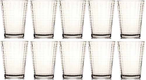 Circleware Windowpane Huge Set of 10 Glass Drinking Glasses Set, 7 Ounce, Limited Edition Glassware Drinkware Beverage Beer Bar Water Juice Drink -