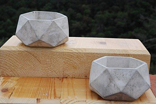 2 Pack de Porta maceta de concreto/Geometry Concret Planter Pot NO INCLUYE PLANTA: Amazon.es: Handmade