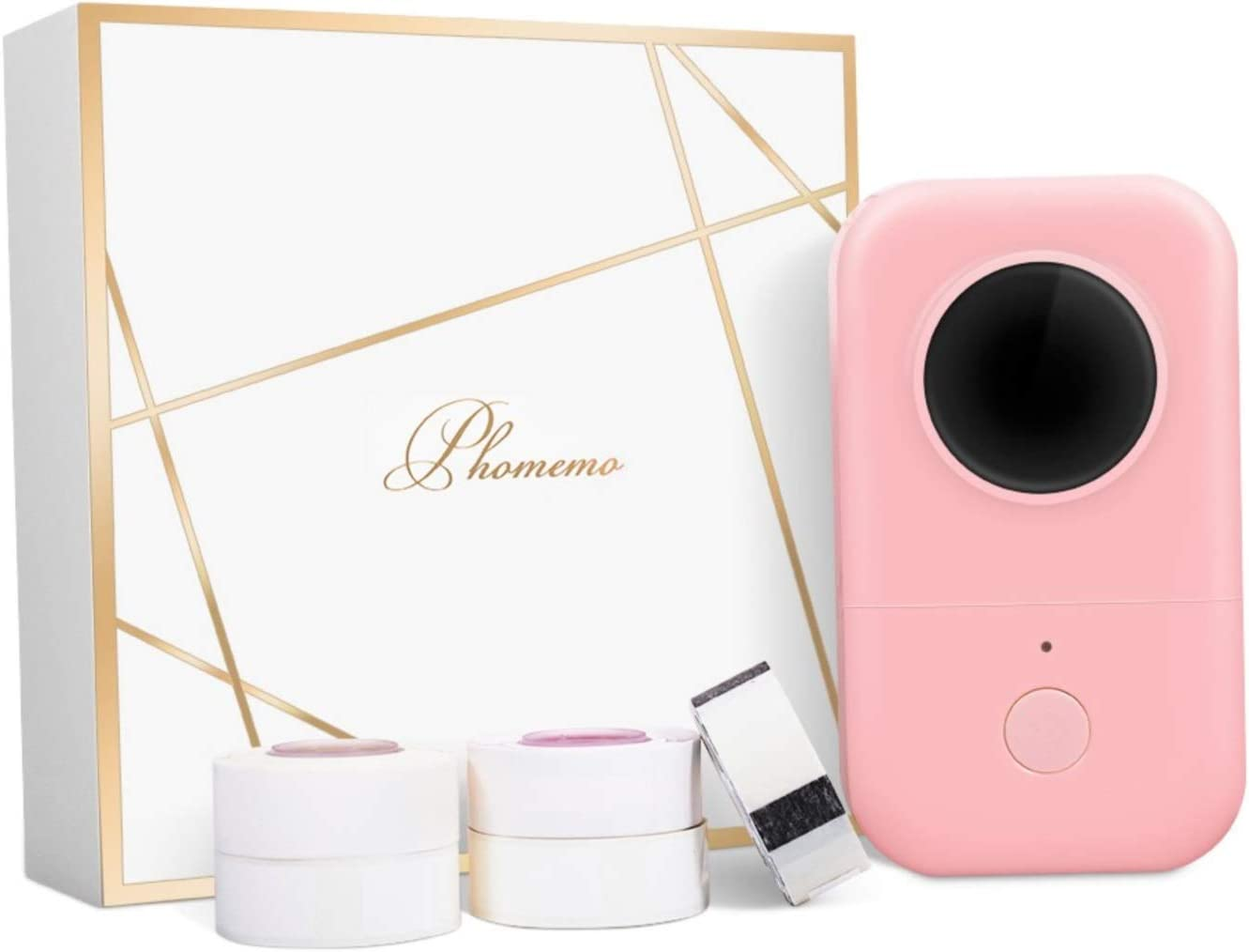 Phomemo D30 Label Maker-with 5 Roll Adhesive Label Thermal Paper Bluetooth Label Maker Thermal Label Printer Paper Mini Easy to Use for Home Office Organization (USB Rechargeable)-Pink