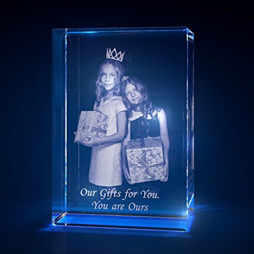 3D Laser Crystal Glass Personalized Etched Engrave Gift Birthday Portrait S Transperant Clear NEW -