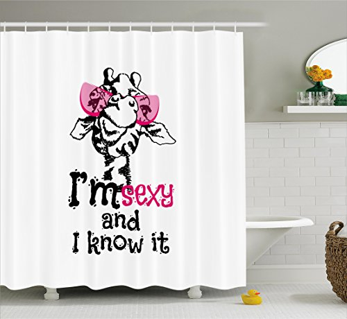 Giraffe Shower Curtain Set by Ambesonne, Funny Animal in Pink Glasses with Quote '' I am sexy and I know it'' Fashion, Fabric Bathroom Decor with Hooks, 70 Inches, Pink Black (Sexy In Animals)