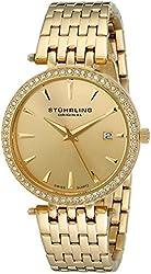 Stuhrling Original Women's 579.03 Analog Soiree Swiss Quartz Date Gold-Tone Stainless Steel Swarovski Crystals Watch