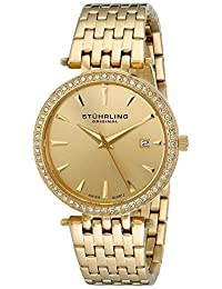 Stuhrling Original Women's 579.03 Vogue Soiree Tiara Swiss Quartz Swarovski Crystal Date Gold Tone Bracelet Watch