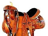 15 16 Western Show Floral Cross Tooled Leather Horse Barrel Racing Saddle TACK Set