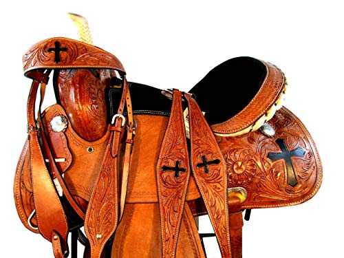 (15 16 Western Show Floral Cross Tooled Leather Horse Barrel Racing Saddle TACK Set (16 Inch))