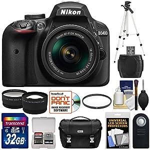 Nikon D3400 Digital SLR Camera & 18-55mm VR DX AF-P Zoom Lens (Black) with 32GB Card + Case + Tripod + Filter + Tele/Wide Lens Kit (Certified Refurbished)