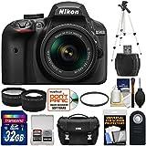 Nikon D3400 Digital SLR Camera & 18-55mm VR DX AF-P Zoom Lens (Black) 32GB Card + Case + Tripod + Filter + Tele/Wide Lens Kit (Certified Refurbished)