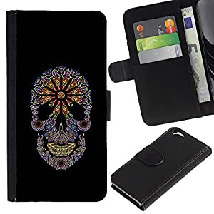 Be-Star la tarjeta de Crédito Slots PU Funda de cuero Monedero caso cubierta de piel Para Apple Apple (4.7 inches!!!) iPhone 6 / 6S ( Floral Black Flowers Spring Skull Purple )