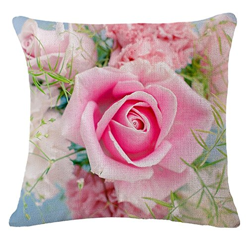 - AliHogbenStore A pink rose #:489 Pillow Case Cushion Cover Home Sofa Decorative 18 X 18 Squares