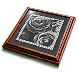 3dRose trv_29956_1 Pewter Gray Roses Surrounded by a Striped and Marbelized Frame Trivet with Ceramic Tile, 8 by 8'', Brown