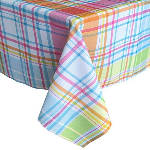 (Newbridge Bright Summer Blue Plaid Indoor/Outdoor Fabric Tablecloth - Blue, Pink and Green Modern Plaid Picnic, BBQ, and Patio Fabric Tablecloth, 60 Inch X 120 Inch Oblong/Rectangular)