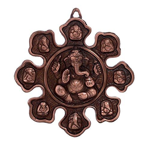 eCraftIndia Metal Wall hanging with 9 variants of Lord Ganesha